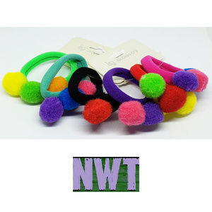 Other - NWT ~ 6 Pom Pom Ponytail Holders ~ Various Colors